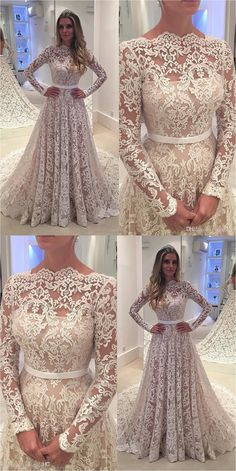 Lace Sleeves Wedding Dresses (20)