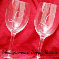 One Artsy Mama: Monogrammed Wine Glasses: Date Basket Gift