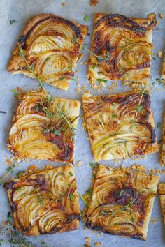 Savory French Onion Tart - A tender pastry crust topped with sweet roasted onion. - Savory French Onion Tart – A tender pastry crust topped with sweet roasted onions and just a hint - Onion Recipes, Tart Recipes, Appetizer Recipes, Healthy Recipes, Healthy Food, Soup Appetizers, Mushroom Recipes, Puff Pastry Recipes Savory, Puff Pastry Pizza