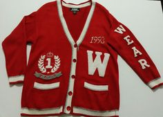 SK Wear - Women's Sweater - Size M Long - Vintage Letterman Knit Sweater Button Up 1993 #SKWear #LettermanKnitSweater  ..... Visit all of our online locations..... www.stores.eBay.com/variety-on-a-budget ..... www.amazon.com/shops/Variety-on-a-Budget ..... www.etsy.com/shop/VarietyonaBudget ..... www.bonanza.com/booths/VarietyonaBudget ..... www.facebook.com/VarietyonaBudgetOnlineShopping      http://www.stores.ebay.com/variety-on-a-budget