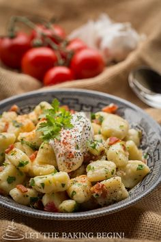This gnocchi recipe is filled with fluffy, pillowy dough seasoned with bits of bacon and caramelized onions. This easy gnocchi recipe is to die for! Gnocchi Recipes, Pasta Recipes, Best Italian Recipes, Favorite Recipes, Sprout Recipes, Potato Dishes, Caramelized Onions, Side Dish Recipes, Side Dishes