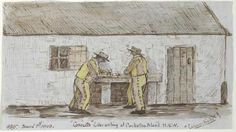 """Convicts"""" Letter writing at Cockatoo Island N. """"Canary Birds"""" by Philip Doyne Vigors 1849 Primary History, Van Diemen's Land, First Fleet, Aboriginal People, Australia Day, First Contact, Cockatoo, Historical Pictures, Working Woman"""