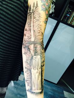 "Multnomah Falls Oregon tattoo by - Nephtali ""lefty"" Brugueras jr. 12 Monkeys…"
