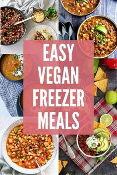 Recipes Meal Prep These easy vegan freezer meals make dinnertime easier! Whether you're making a double batch during meal prep or you're preparing for busy days ahead, these vegan recipe ideas make healthy eating easier! Vegan Meal Plans, Vegan Meal Prep, Vegan Dinner Recipes, Vegan Dinners, Vegan Recipes Easy, Whole Food Recipes, Vegetarian Recipes, Vegetarian Freezer Meals, Freezable Meals