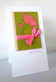 hand crafted card from Stamping & Sharing ... small panel ... paper pieced rose flower and bud on just the outlined stem and leaves ...