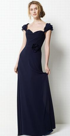 Watters Elegant Chiffon Long Bridesmaid Dress with Ruffle Straps 9551 at frenchnovelty.com