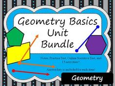 This bundle contains notes,13 activities, practice test, and online Socrative test that cover the following topics: points, lines, planes, angles, angle pairs, and basic polygons.Activities included (see below for more detailed description of activities):-Task Cards: Lines and Angles-Match Cards: Lines and Angles-2 Crosswords: Lines and Angles, Basic Polygons-4 MathDoku Puzzles: Segment Addition, Distance/Midpoint, Angle Addition, and Angle Pairs-Disney Movie Fun: Distance and Midpoint-Math…