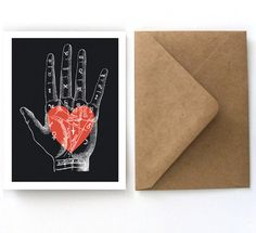 Valentine's Day Card  Vintage Palmistry Heart by curiousprints