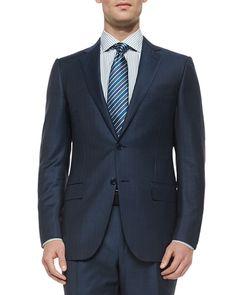 Trofeo Wool Striped Suit, Steel Blue, Size: 42/43L - Ermenegildo Zegna