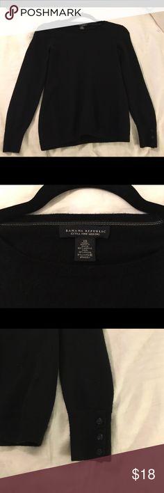 Banana Republic Fine Merino Sweater Black sweater in good condition. Buttons on cuffs. Banana Republic Sweaters Crew & Scoop Necks
