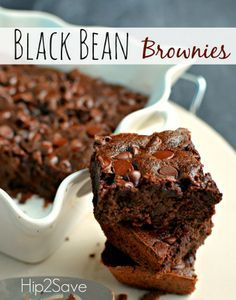 Black Bean Brownies Recipe-1 (15.5 ounce) can black beans, rinsed and drained 3 eggs 3 tablespoons coconut oil or vegetable oil 1/4 cup unsweetened cocoa powder 3/4 cup sugar 1 teaspoon vanilla 1/2 teaspoon baking powder 1 pinch salt 1/2 cup chocolate chips  Bake @ 350 for 30 minutes