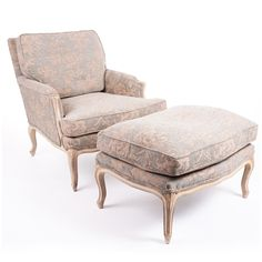 Vintage French Provincial Style Chair & Ottoman with New Brunschwig & Fils Jacquard Upholstery