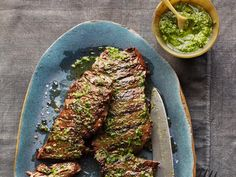Pesto Skirt Steak and chimichurri sauce is a classic combo.