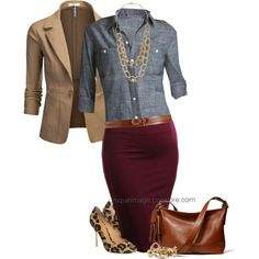 A fashion look from September 2014 featuring Old Navy blouses, J.TOMSON blazers and Kurt Geiger pumps. Browse and shop related looks. A cute Fall outfit for work Office Outfits, Mode Outfits, Fall Outfits, Casual Outfits, Fashion Outfits, Womens Fashion, Fashion Trends, Red Skirt Outfits, Fashion Ideas
