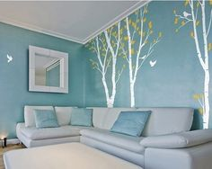 Love the trees on the wall and really like the overall color scheme.