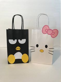Listing is for 1 favor bag choice is from Hello Kitty or Badtz Maru Bag Size: - Paper Party Bags, Paper Bag Crafts, Paper Gift Bags, Party Favor Bags, Favor Boxes, Birthday Bag, Birthday Party Favors, Hello Kitty Birthday Party Ideas, Decorated Gift Bags
