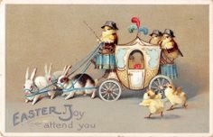 Easter Greetings Dressed Chicks Bunny Drawn Carriage Antique Postcard (J6198)