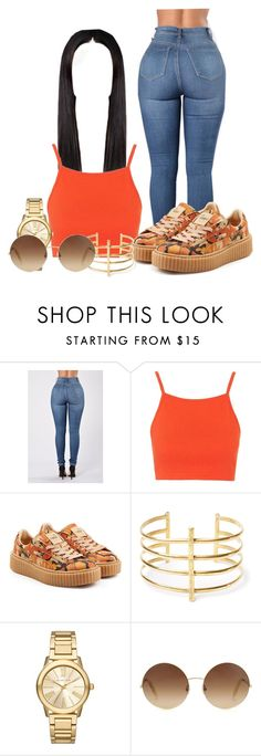 """CreepLife"" by officially-beautiful ❤ liked on Polyvore featuring Topshop, Puma, BauXo, Michael Kors and Victoria Beckham"
