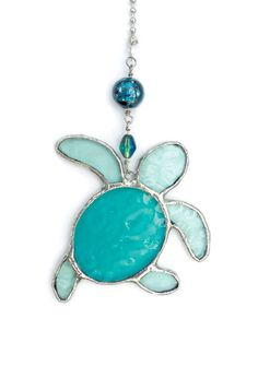 Baby Sea Turtle stained glass fan pull by lizardkey on Etsy, $20.00