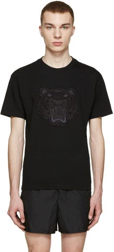 Kenzo Black Embroidered Tiger T-Shirt