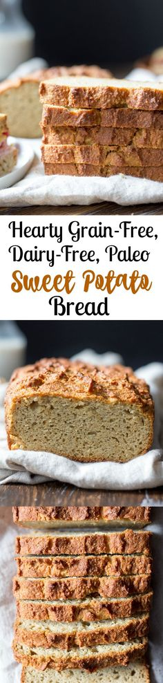 This hearty paleo sweet potato bread is so versatile and works with any meal.  Toast and slather with butter or nut butter, top with poached eggs, or use as a sandwich bread!  Grain free, gluten free, dairy free, Paleo.