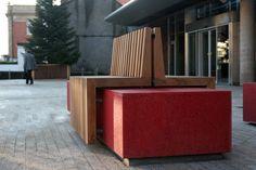 Rathmines, Dublin. Bespoke seating in iroko timber and resin bound stone