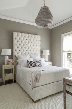 A Naturally Glamorous Home in Marin County   Interior Design by Ann Lowengart of Ann Lowengart Interiors   Photography by David Duncan Livingston   Modern Sanctuary   Bedroom   Contemporary Bedroom   Glamorous Bedroom   Taupe Bedroom   Lighting   Bedding