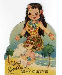 hawaiian girl vintage valentine