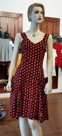Trägerkleid - Sommerkleis schwarz/rot mit Tupfen von Campur