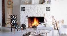 Love the texture on that fireplace.