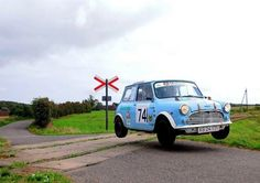 Speed up chaps the trains coming Mini Classic Mini Cooper Classic, Classic Mini, Classic Cars, Classic Auto, Mini Clubman, Mini Countryman, Mini Coopers, Vespa, Sport Cars