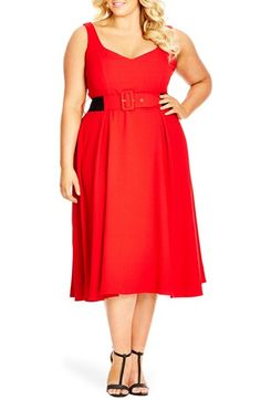 City Chic Belted Sweetheart Neckline Tea Length Dress (Plus Size)