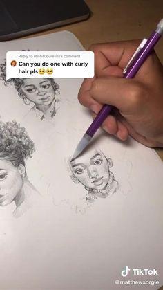 Art Drawings Sketches Simple, Pencil Art Drawings, Easy Drawings, Easy Sketches To Draw, Sketch Art, Curly Hair Drawing, Anime Curly Hair, Curly Hair Cartoon, Drawing Hair Tutorial