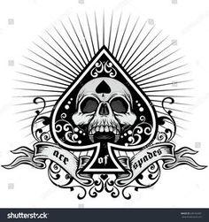 ace of spades, grunge. Biker Tattoos, Skull Tattoos, Sleeve Tattoos, Military Tattoos, Ace Of Spades Tattoo, Spade Tattoo, Playing Cards Art, Graffiti Lettering Fonts, Reaper Tattoo