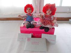 Marie Osmond Kissy & Huggs Tiny Tots Dolls COA + Doll Necklace Raggedy Twin  #MarieOsmond #Dolls