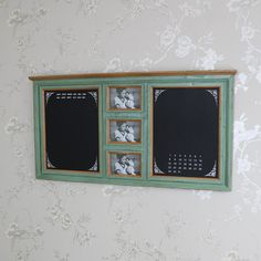 Large Green Wall Mounted Notice Board with Photograph Frames - Melody Maison®️️ - Large Green Wall Mounted Notice Board with Photograph Frames, notice board, photograph, photo, frame, blackboard, chalkboard, wall mounted, calendar, perpetual calendar, shabby chic, vintage, distressed, country, kitchen, hallway, home, gift, rustic, Fren