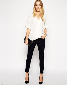 Image 4 of ASOS TALL Exclusive Wrap Front Top With Fold Sleeve