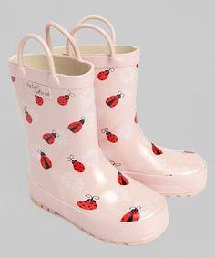 Light Pink Ladybug Rain Boot