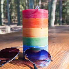 #rainbow #candle Gay Pride, Pillar Candles, Rainbow, Rain Bow, Rainbows, Pride, Candles