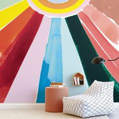 """""""Rainbow Rays"""" - Kids Non-custom Wall Murals by Baumbirdy in beautiful frame options and a variety of sizes. Childrens Wall Murals, Playroom Mural, Kids Wall Murals, Nursery Wall Murals, Custom Wall Murals, Murals For Kids, Removable Wall Murals, Mural Wall Art, Girls Bedroom Mural"""