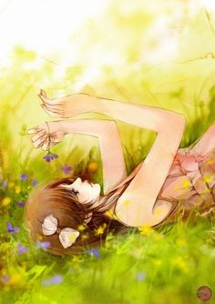 Pretty anime girl in a meadow.