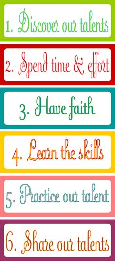 Embellish: {free printable & LDS Church Lesson Help} Lesson 34-- Developing our Talents
