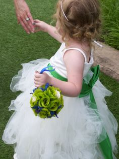 Ashley's Flowergirl Kissing Ball, Lime Green roses and Blue small orchids,Pomander,Rose Ball