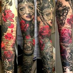 Arm Tattoo Roses Clock Woman Face Ink