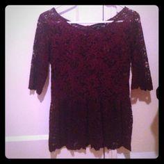 Zara burgundy lace peplum top Gorgeous lace sheer top with beautiful deep red color and peplum lace on bottom. 3/4 length, zips in back. Great condition Zara Tops Blouses
