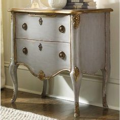 Hooker Furniture French 2 Drawer Chest - Inspired by a classic bombe chest, the Hooker Furniture French 2 Drawer Chest stands on cabriole legs and is graced with artistic carvings highlighted. Hooker Furniture, Chest Furniture, Steel Furniture, French Furniture, Furniture Makeover, Furniture Design, Luxury Furniture, Furniture Stores, Furniture Cleaning