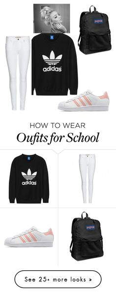 """running late for school but still cute "" by bean0clayton on Polyvore featuring adidas Originals, Burberry and JanSport"