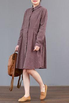 FantasyLinen Plaid Shirt Dress, Cotton Loose Dress For Spring Q3011