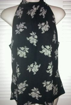Michael Kors Career Blouse Sleeveless Black and White Floral Top Size Large