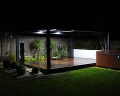 Renson® Camargue at night with beautiful light blades and rotating roof blades